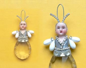 "mixed media assemblage, original art doll ornament, altered doll, FIREFLY art, 4"" tall by Elizabeth Rosen"