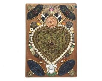 decorated sewing box, encrusted jewelry box, decorative box, trinket box, mixed media storage, altered art box by Elizabeth Rosen