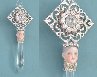ONE rhinestone chandelier crystal pixie, mixed media assemblage art doll, doll head ornament, by Elizabeth Rosen