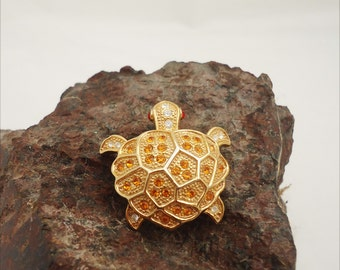 Vintage Turtle Brooch, Turtle Brooch in Gold Tone, Turtle Brooch yellow, clear and red rhinstone