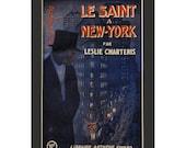"Vintage Book Cover ""The Saint in New York"" - Leslie Charteris - Flatiron Building Art, New York Artwork, Vintage Artwork, Blue Office Decor"