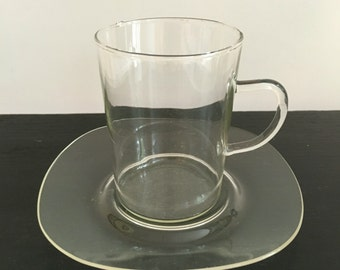 Vintage Jenaer Glass Saucers for Glass Coffee Mugs/ Schott Jenaer/ Square Saucer Plates/ set of 6