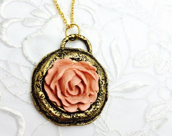 Pink Rose Pendant, Vintage Round Gold Tone, Matching Necklace, HALF OFF Sale, Item No. B477