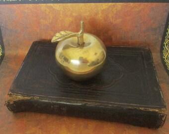 Vintage Display Bible Bell Apple Brass Bell German Book 1860s 2pcs