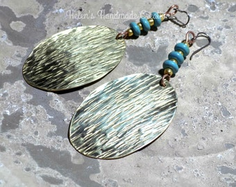Large statement earrings , Unique brass and turquoise earrings made in Greece by Helen's handmade Creations