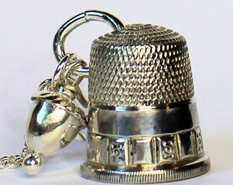 Peter Pan and Wendy Thimble and Acorn Kisses Necklace Sterling Silver