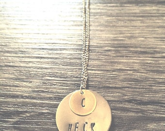 Layered pendant Name Necklace Gold and Silver