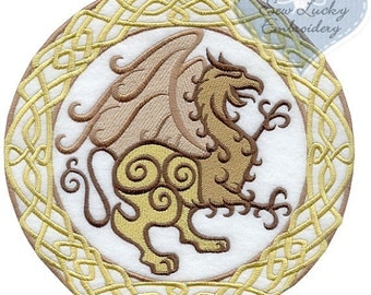 Celtic Gryphon Applique Embroidered Patch , Sew or Iron on