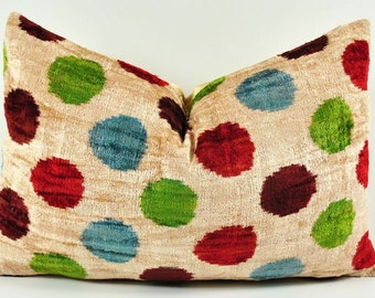 Handmade Velvet Silk Ikat pillow cover Lp139, Bohemian pillow