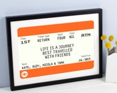Personalised Friend Gift, Personalised Train Ticket, Friendship Quote, Best Friend Gift, Journey Quote, Friend Print, Friend Quote, Quote