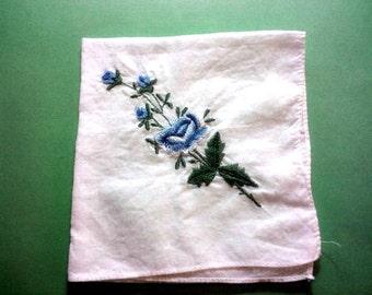 Vintage 1950s Handkerchief/ Hankie Blue Rose Bouquet