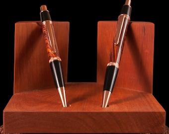 Handmade Crosscut Coccobolo Pen / Pencil Set /w Case