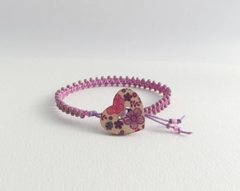 Purple Macrame Bracelet, Purple and Pink Bracelet, bracelet with heart, beaded cord bracelet, knotted bracelet - unique design