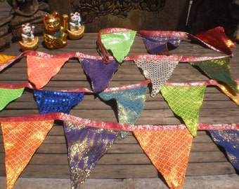 Tribal Textile Bunting,Extra LOng Bunting, Thai Skirt Textile Bunting, Bright Happy Bunting,Party Bunting, Disco Bunting