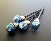Hair Pins Bobby Pins Hair Accessories Beaded Hair Jewelry Blue Beaded Hair Pins