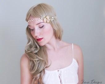 Golden Beach wedding head wreath. Bridal Seashell wreath. Mermaid Head Wreath. Beach Wedding Head Circlet