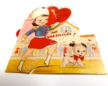 "Vintage Valentine - Majorette with Puppy ""You're Way Up Front With Me, My Valentine"", 1920's Valentine, Mechanical StandUp Card, Made in USA"