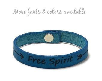 Free Spirit Bracelet, Custom Leather Bracelet, Laser Engraved Bracelet, Leather Bracelet, Gifts Under 15