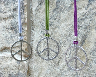Peace Charm Necklace, Peace Sign Necklace, Coachella Necklace, 60s Peace Necklace, Festival Jewelry, Leather Peace Necklace, TEN COLORS