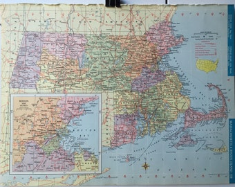 Vintage 1965 Hammond's World Atlas Map Page (Michigan on one side and Massachusetts / Rhode Island on the other side)