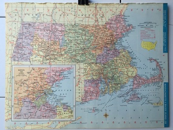 Vintage 1965 hammonds world atlas map page michigan on one side vintage 1965 hammonds world atlas map page michigan on one side and massachusetts rhode island on the other side from greenbasics on etsy studio gumiabroncs Images