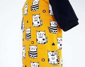 Children's cat t-shirt, mustard and black, monochrome, various baby to toddler ages, 3-6m, 6-12m, 1yr, 2yr, 3yr, 4yr - HANDMADE TO ORDER