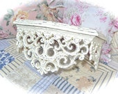 Large Off White Cream Shabby Ornate Scrolled Bed Crown Pediment Topper Fancy Romantic Cottage Chic READY TO SHIP