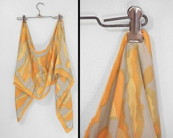 Rectangular VERA Scarf 1960s Silk Mod Circles Orange Yellow Gray