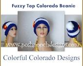 Fuzzy Top Colorado Flag Beanie Custom Made