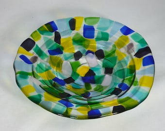 Fused Glass Bowl with Stand, Fused Glass Decor, Watercolors