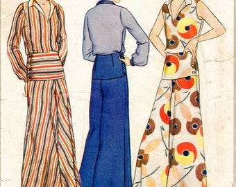 1930s Style 2pc Beach Pajamas Pyjamas Blouse and Trousers Custom Made in Your Size From a Vintage Pattern