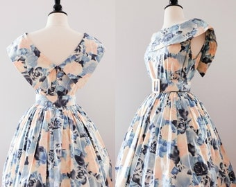 1990s Vintage Floral Cotton Sundress | 90s Dress