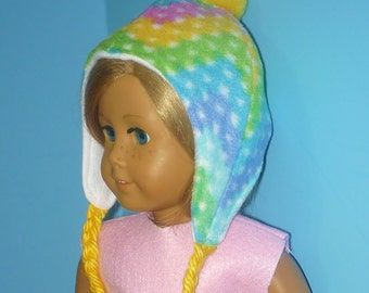 Fleece Ear Flap Cap with Yarn Braids - fits American Girl Dolls