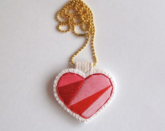 Embroidered heart necklace on bright cream muslin with cream felt back reds and pinks with gold tone ball chain Valentines day gift for her