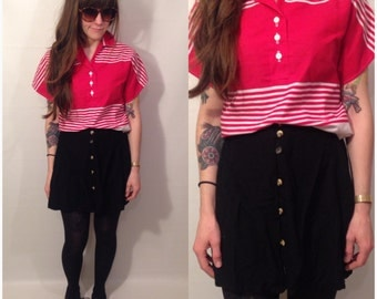 Vintage 80s Red and White Stripe Short Sleeve Polo Blouse Crop Top Size Medium / Large