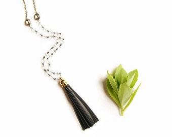 Tassel Necklace Leather - Long Black Tassel Necklace Leather