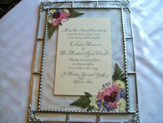 glass artframed wedding invitationpressed by creativespiritglass. Black Bedroom Furniture Sets. Home Design Ideas