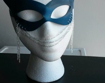 MARQUISE latex chain masquerade mask metallic blue