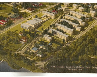 Linen Postcard, Lakeland, Florida, Florida Southern College Campus, ca 1950