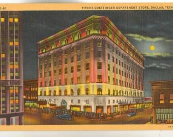 Linen Postcard, Dallas, Texas, Titche Goettinger Department Store, ca 1940