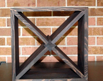 12 Bottle Wood Wine Rack Solid Espresso or Two Tone 15' square Counter top Model