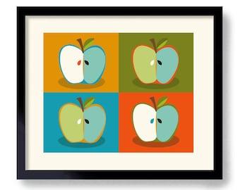 Mid Century Modern Art Print Apple Art Kitchen Wall Art Retro Kitchen Colorful Kitchen Decor Red Apple Modern Design Green Apple Andy Warhol