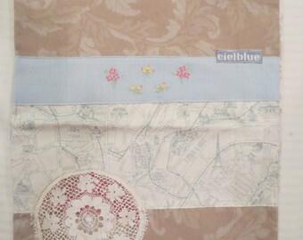 Paris Travel Bag Project Bag Shoe Bag Lingerie Bag Drawstring Bag Made with Vintage Linens