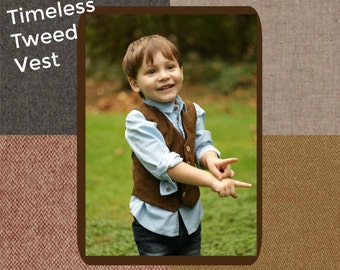 Tweed Vest, Tweed Wool Vest, Tweed Look Vest, Brown Wool Vest, Brown Tweed Vest, Tan Tweed Vest, Boys Tweed Vest, Ring Bearer, Baby Boy Vest