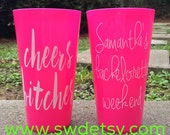 CHEERS BITCHES Bachelorette Tumblers - Set of 6 - Party Cups personalized on BOTH sides, Bachelorette Party Cups