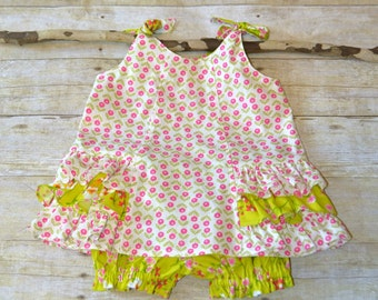 12 - 18 mo Sunny Dress and Bloomers, Toddler Clothing, Baby Outfit, Sun Dress, Baby Clothes, CSPC compliant made by The Corduroy Hippo