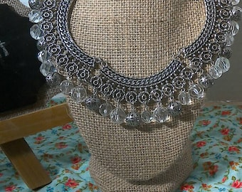 Silvertone Beaded Choker Necklace
