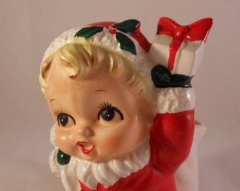 Vintage Velco Santa Baby Girl Planter Candy Dish