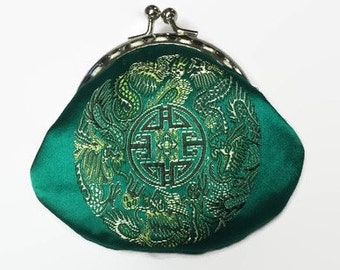 Green Silk Coin Purse, Small Coin Purse, Change Purse, Purse, Chinese silk coin purse