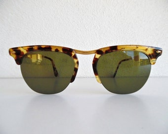 VOGUE ITALY . Tortoise Print Sunnies Shades Sunglasses Glasses Sun Cheaters 80s Brown-Green